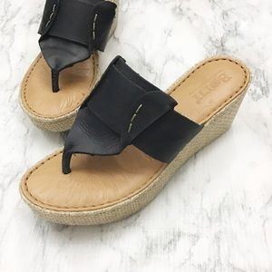 Born Leather Thong Wedge Slides/Sandals
